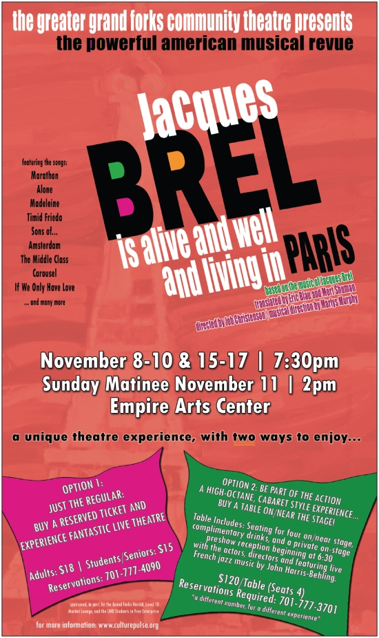 Poster Artwork for Jacques Brel is Alive and Well and Living in Paris