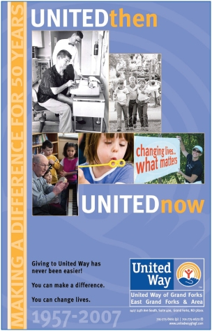 United Way of Grand Forks, East Grand Forks & Area Campaign Poster/Branding Graphic celebrating 50 years